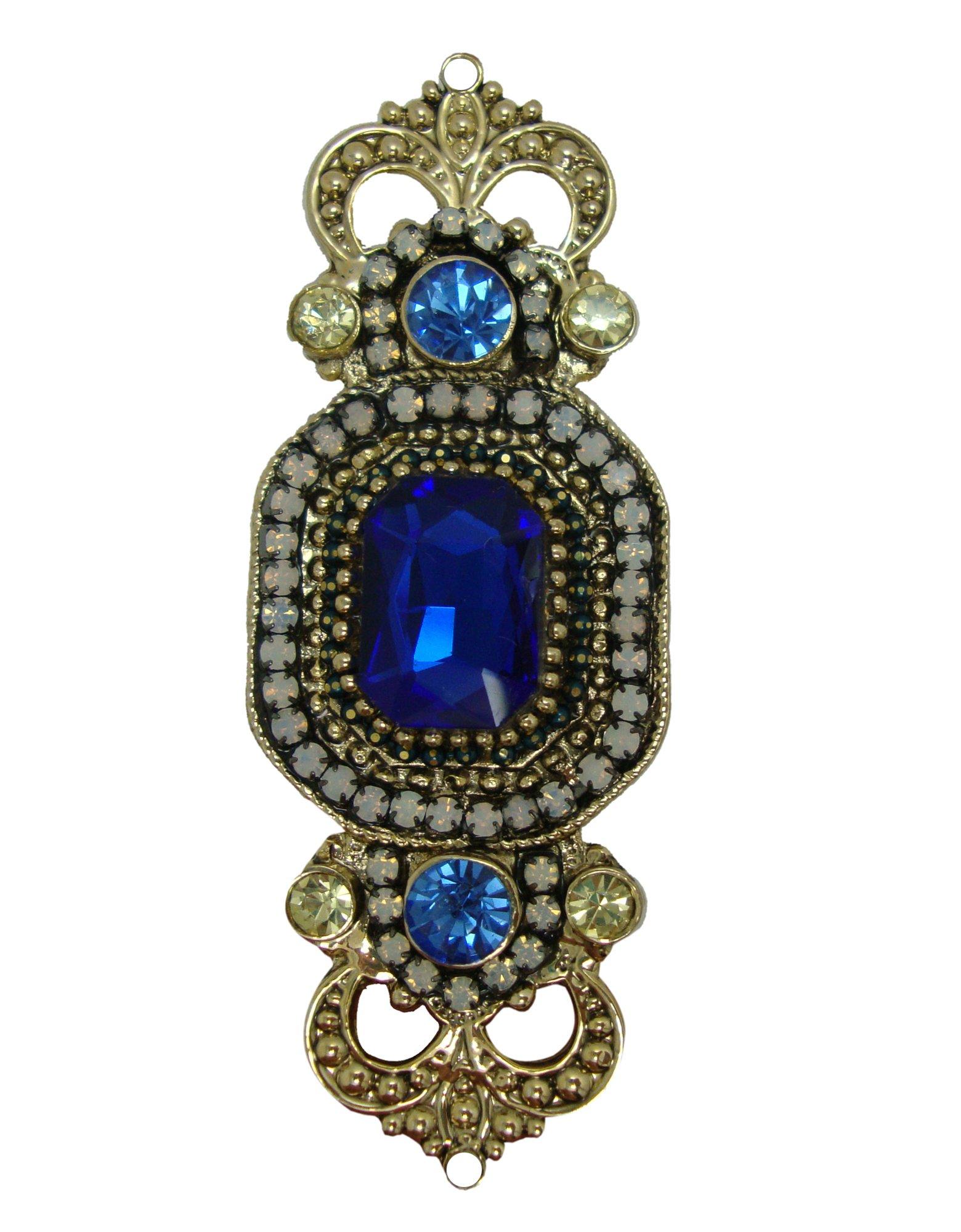 TTjewelry 2.68'' Vintage Art-deco Style Rhinestone Crystal Crown Brooch Pin (Deep Blue)