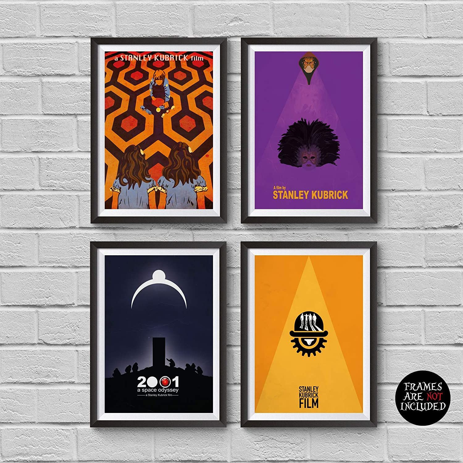 Stanley Kubrick Minimalist Poster Set of 4 Films The Shining A Clockwork Orange 2001: A Space Odyssey Eyes Wide Shut Print Cult Movies Wall Artwork Home Decor Hanging Cool Gift