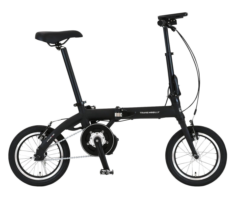 トランスモバイリー(TRANS MOBILLY) 保険付き 折りたたみ電動アシスト自転車 LEDライト付マグネット脱着式バッテリー採用 14インチ ULTRA LIGHT E-BIKE AL-FDB140E アルミフレーム 92201 B078WNY6DYブラック