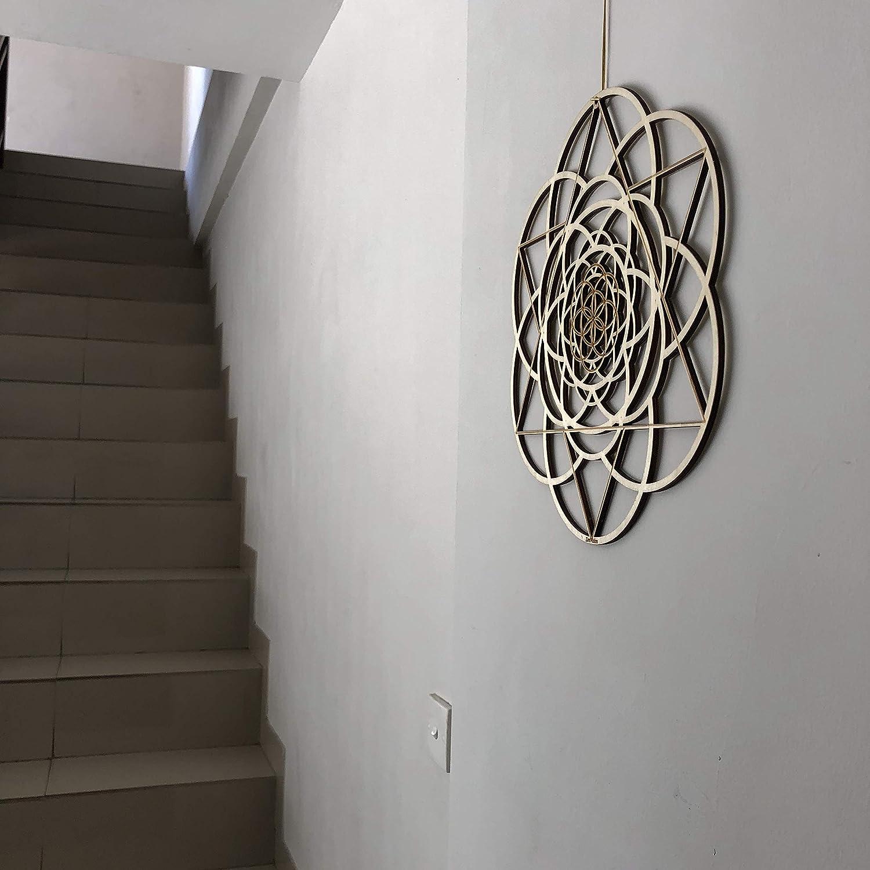 Yoga Wall Art Hanging Fibonacci Sacred Geometry Wall Art Laser Cut Artwork Wall Sculpture Symbol ZenVizion 13.5 Seed of Life Wall Art Gift purpose Wooden Wall Art Decor