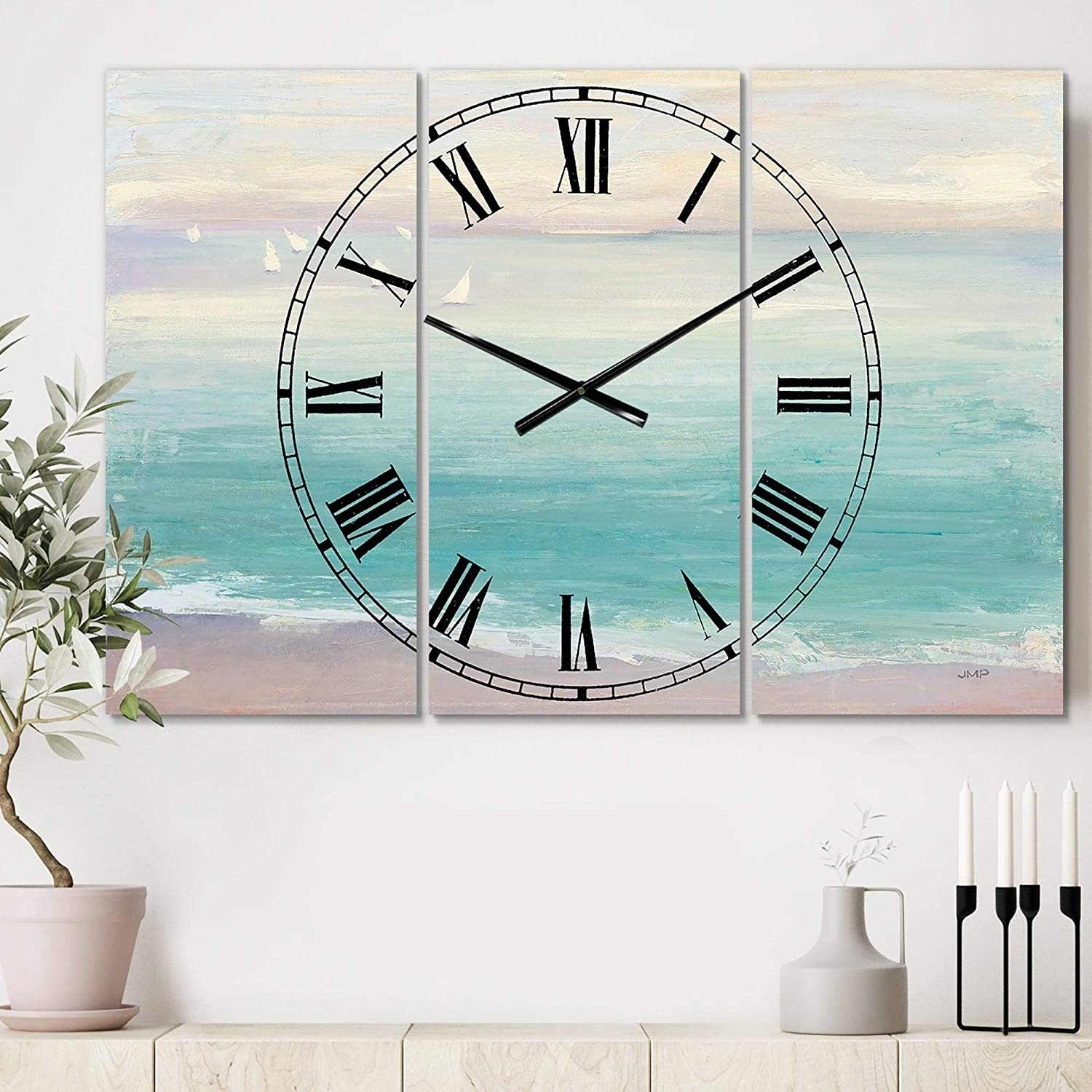 From The Shore Cottage 3 Panels Large Wall Clock 36 In Wide X 28 High Panels Blue Traditional Rectangular Aluminum Steel Finish Battery Included Home Kitchen