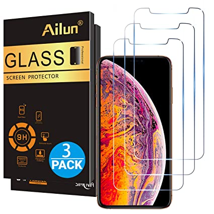 Ailun Compatible With Apple I Phone Xs Max Screen Protector 3 Pack 6.5 Inch 2018 Release Tempered Glass 0.33mm Anti Scratch Advanced Hd Clarity Work With Most Case by Ailun