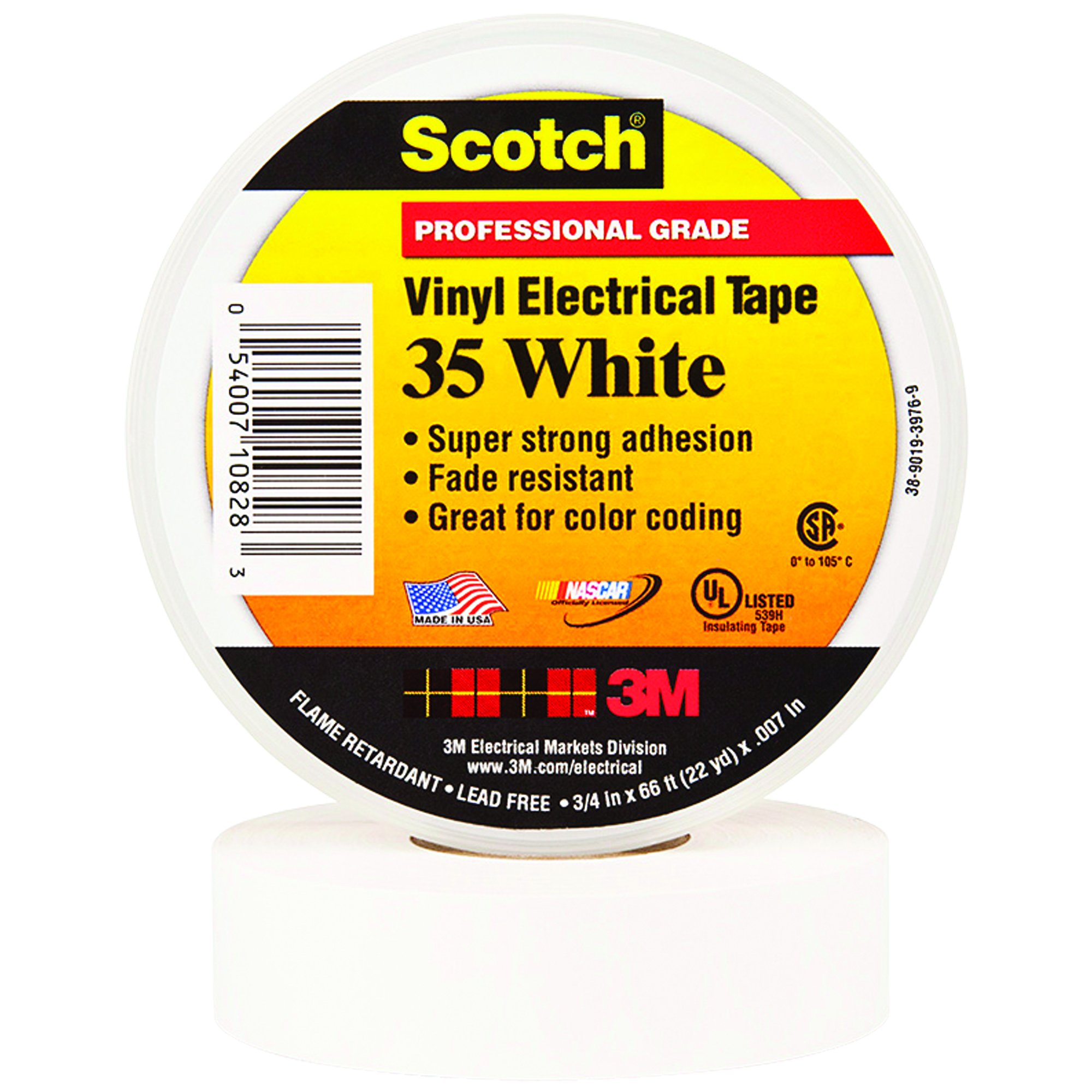 BOX USA BT964035W White 3M 35 Electrical Tape, 7 mil, 3/4'' x 66' (Pack of 100)