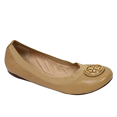 Tory Burch Shoes Flats Ballet Caroline Leather Elastic (7, Sand Gold)