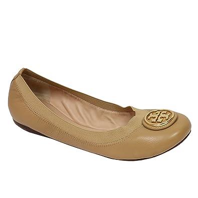 Tory Burch Shoes Flats Ballet Caroline Leather Elastic (7, Sand Gold)