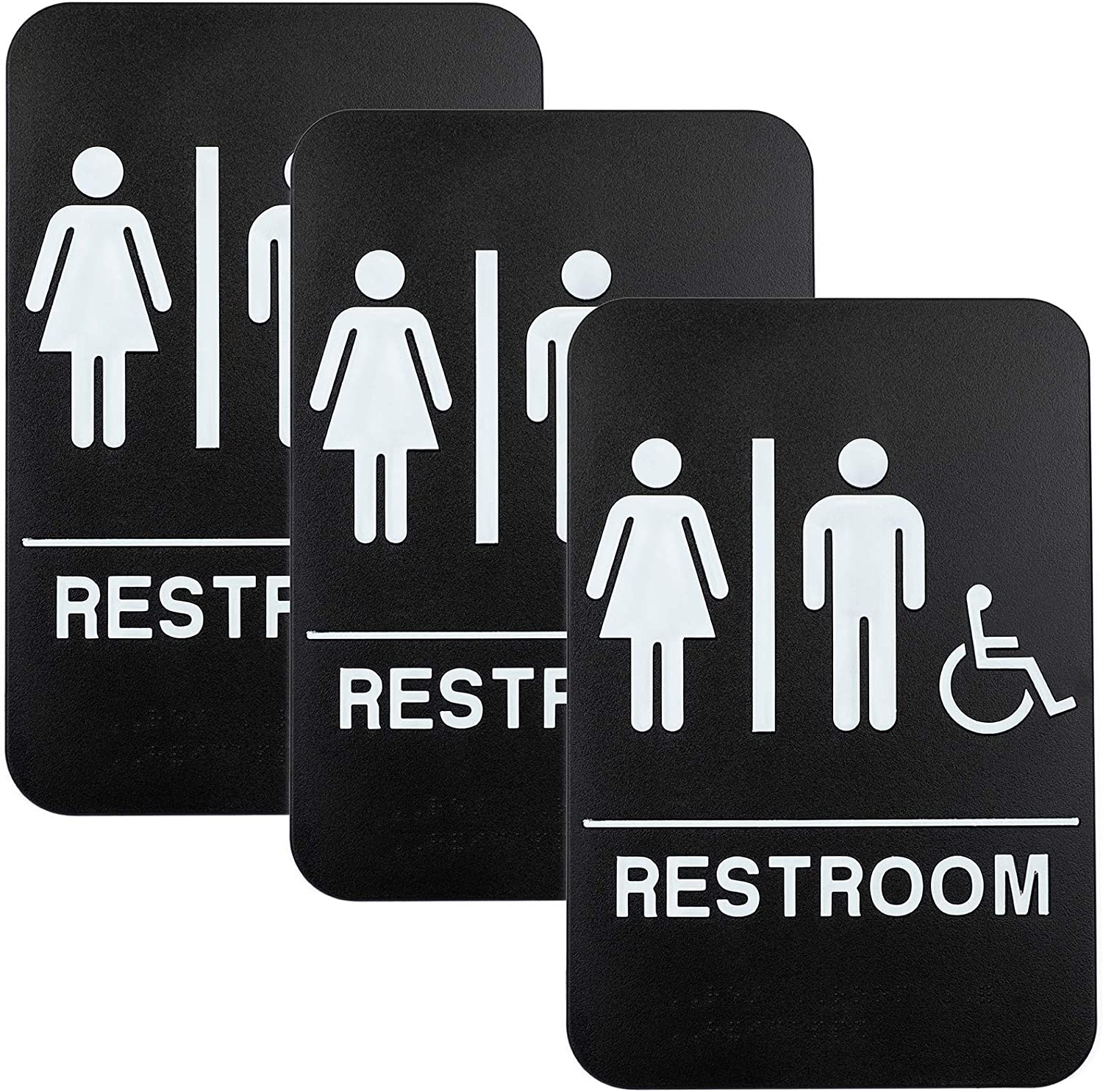 "Plastic Restroom Sign: Easy to Mount with Braille (ADA Compliant), Great for Business - 6""x9"", Unisex, Handicap - Pack of 3"