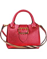 Burberry Women's The Small Buckle Tote In Metallic Bright Pink