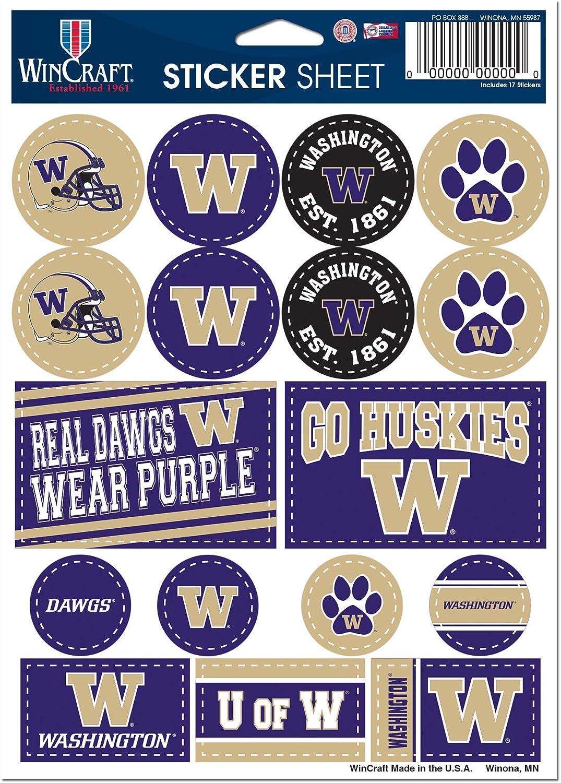 """WinCraft NCAA University Washington Huskies 5"""" x 7"""" Variety Sticker Sheet"""