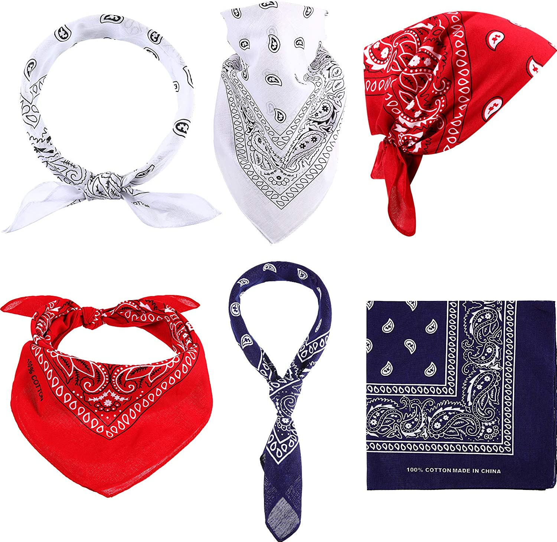 VOGUEKNOCK Bandanas 12 Pack Cotton Paisley Print Cowboy Bandanas Scarf Headband Head Wrap for Men Women 4 Colors