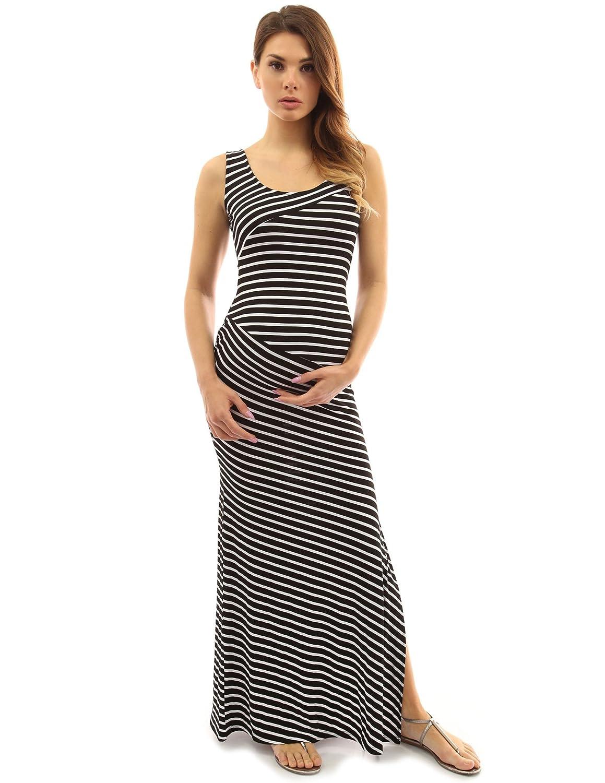 PattyBoutik Mujer Vestido Maxi de Maternidad Cuello Redondo Rayado Mama