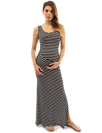 ee314d5b333c1 PattyBoutik Mama Striped Scoop Neck Maternity Maxi Dress (Black and White S)