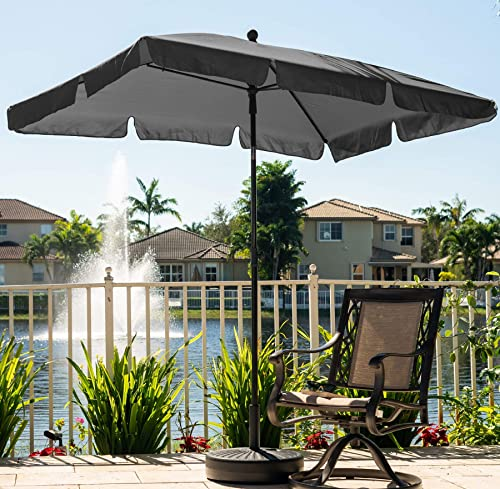 AMMSUN 7ft 4.6ft Rectangular Patio Umbrella Outdoor Market Table Umbrella Steel Pole and Ribs Push Button Tilt