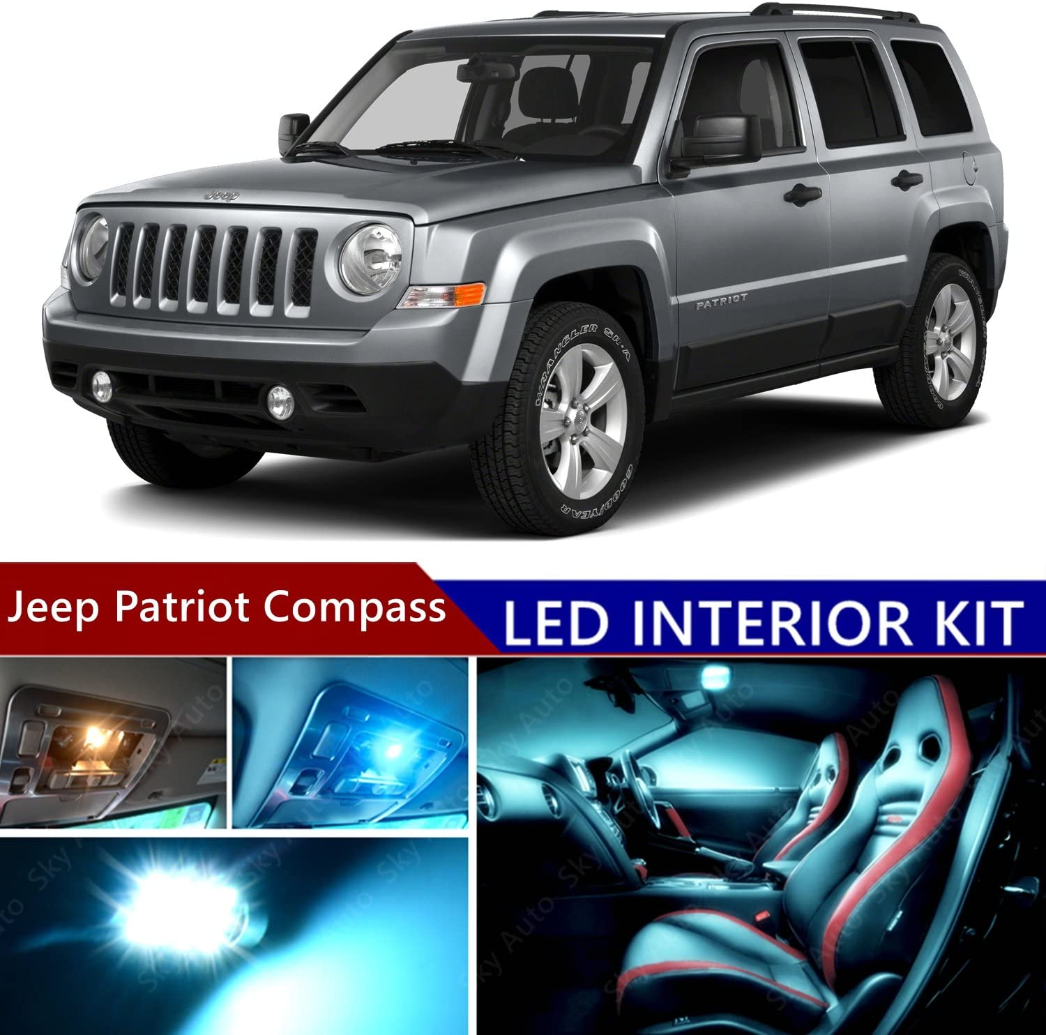OEM 2007-2015 Jeep Compass License Plate LED Light Assembly Bulbs Tail Lift Gate
