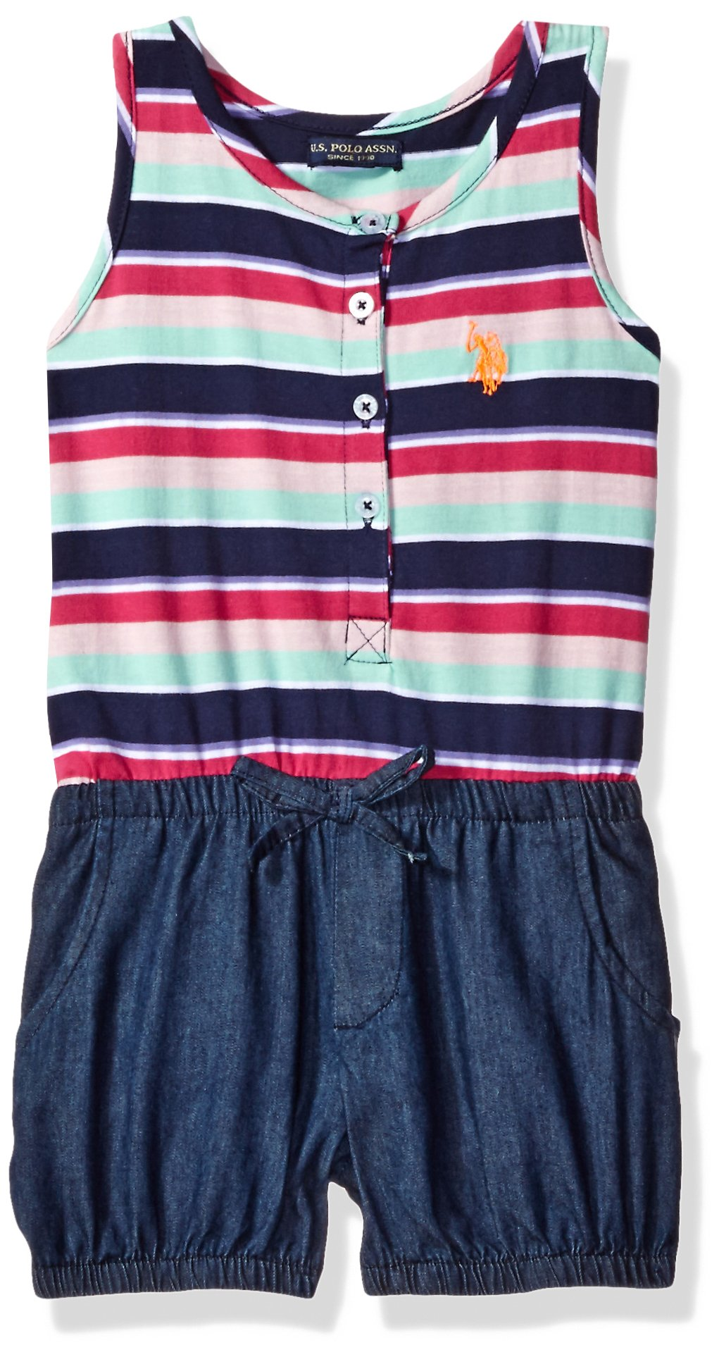 U.S. Polo Assn.. Toddler Girls' Poplin Tank and Denim Bubble Short Romper, Peacoat, 2T by U.S. Polo Assn. (Image #1)
