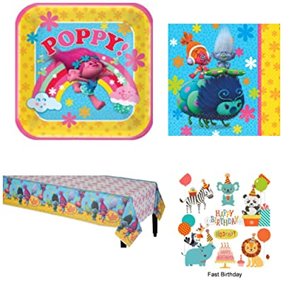 ONE STOP DreamWorks Trolls Birthday Party Bundle Including Dinner Plates, Napkins and Tablecover for 8 - Birthday Party Supplies: Toys & Games