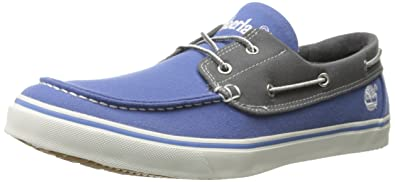 Timberland Men's Newmarket Boat Oxford, Blue Tri Tone Canvas, ...