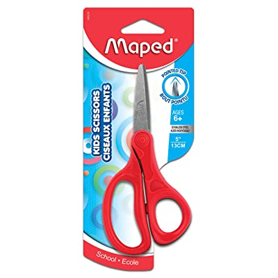 Maped Essential Scissors, Kids, 5 Inch, Pointed Tip, Right & Left Handed, Assorted Colors (480210) : Office Products