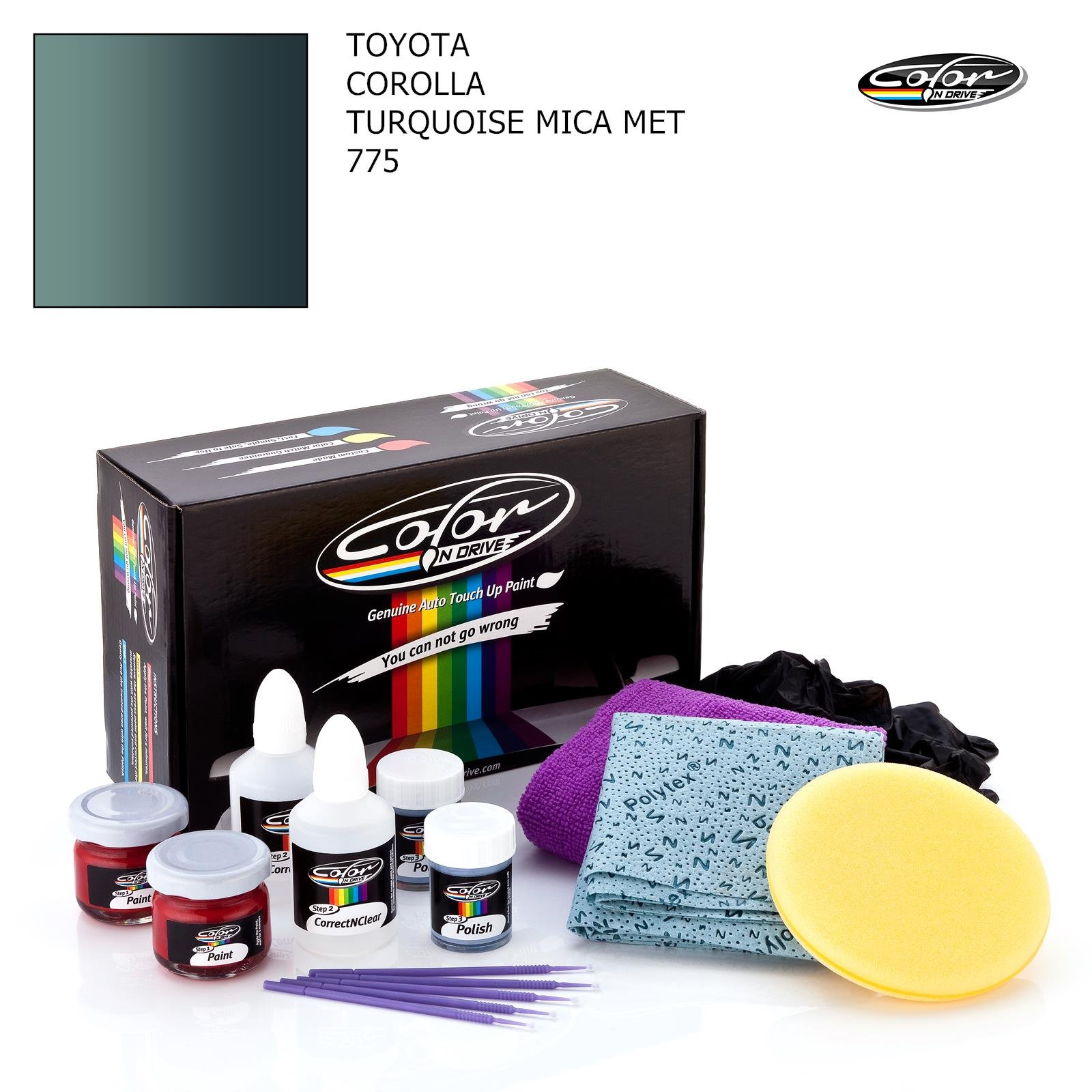 TOYOTA COROLLA / TURQUOISE MICA MET - 775 / COLOR N DRIVE TOUCH UP PAINT SYSTEM FOR PAINT CHIPS AND SCRATCHES / PLUS PACK