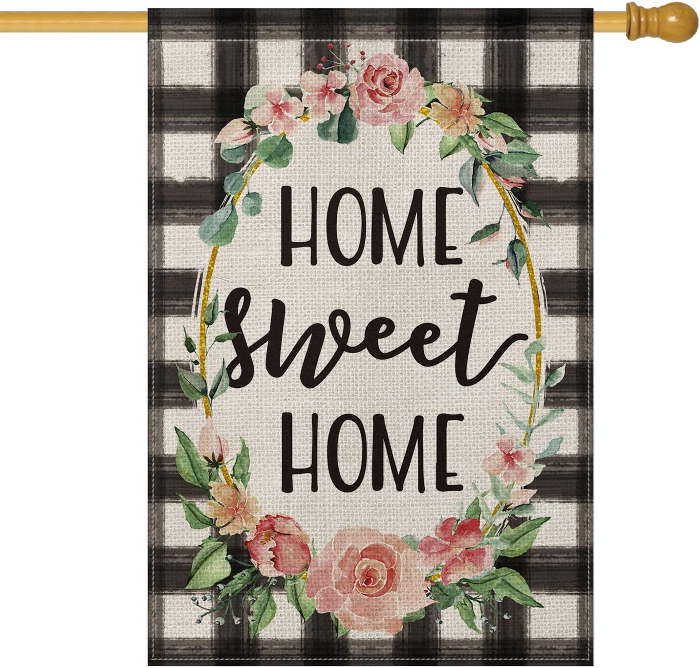 AVOIN Watercolor Buffalo Check Plaid House Flag Vertical Double Sided, Flower Wreath Home Sweet Home Rustic Farmhouse Flag Yard Outdoor Decoration 28 x 40 Inch