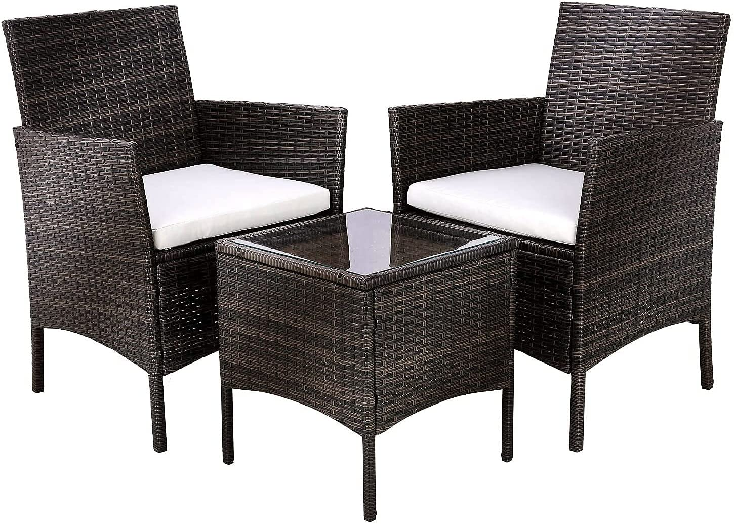 GARTIO 3-Piece Patio Furniture Set, Outdoor Wicker Rattan Patio Bistro Set, All-Weather Waterproof Conversation Chairs w/Glass-Top Coffee Table&Thick Cushions Porch, Backyard, Pool