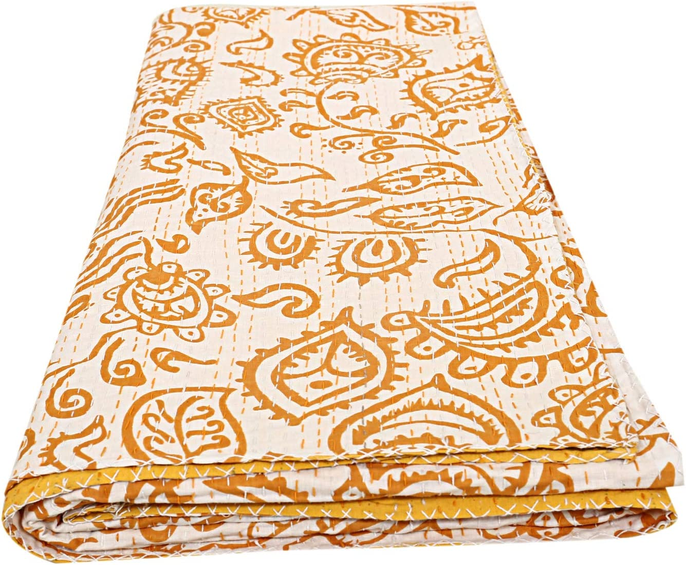 My Creation Bohemian Yellow Floral Printed Kantha Blanket Indian Handmade Kantha Quilts Queen Size Reversible Bed Cover Throw Bedding Quilts Hand Stitch Comforter