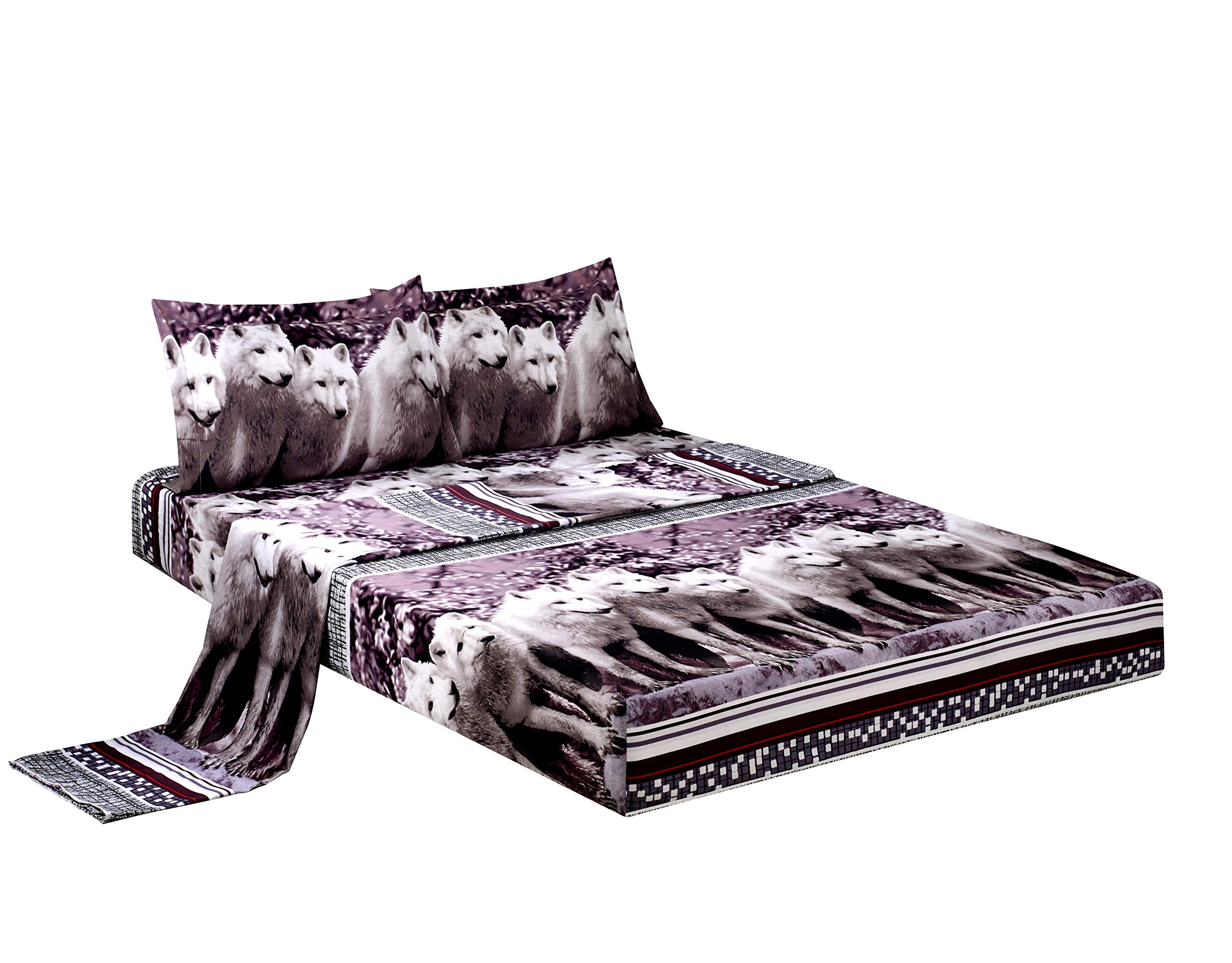 BEDnLINENS Luxurious 3D Bed Sheet Set Wild Life Animals and Scenery Print a Pack of White Mountain Wolves in Gray, Purple and Black Color in King Size (King,WOLF-Y08)