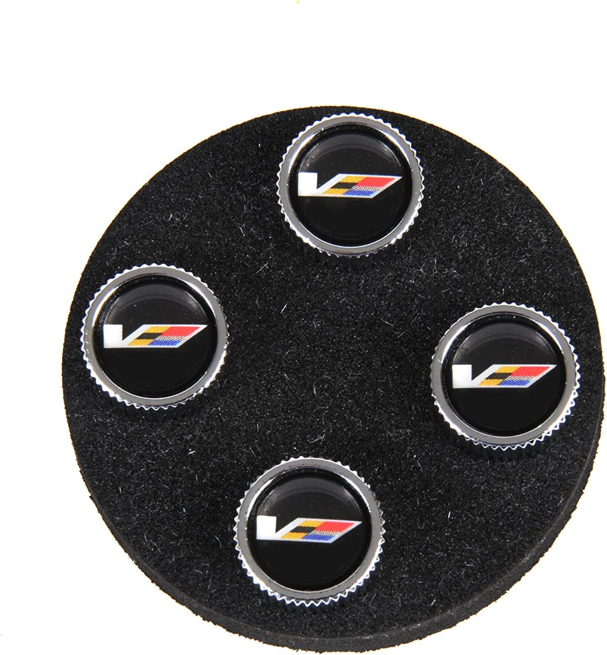 GM Accessories 22914361 Tire Valve Stem Caps in Black with V-Series Logo Pack of 4