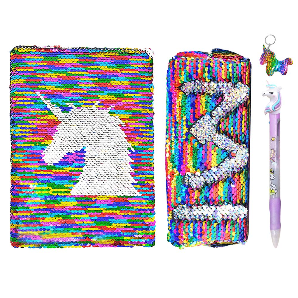 TCJJ Unicorn Notebook Set, Back to School Flip Sequin Journal with 80 Sheets (5.8'' x 8.3''), Girls Diary for Kids Birthday Party Christmas (Pencil Case, Gel Pen and Unicorn Keychain Included)
