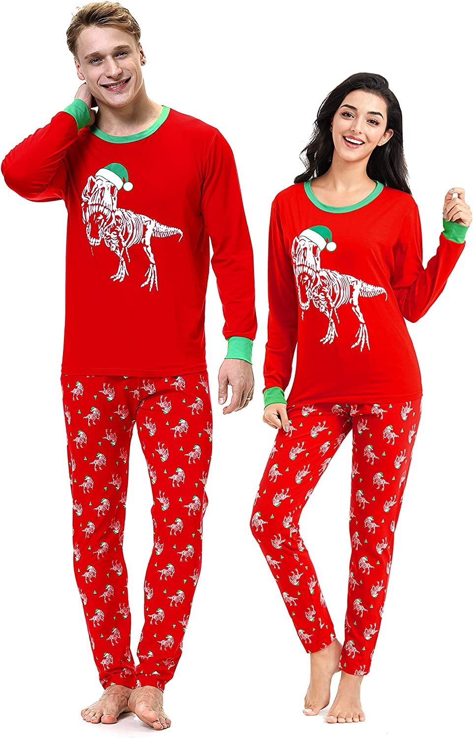 Benaive Matching Family Christmas Pajamas Set Boys Girls Holiday Pjs for Women Men Sleepwear