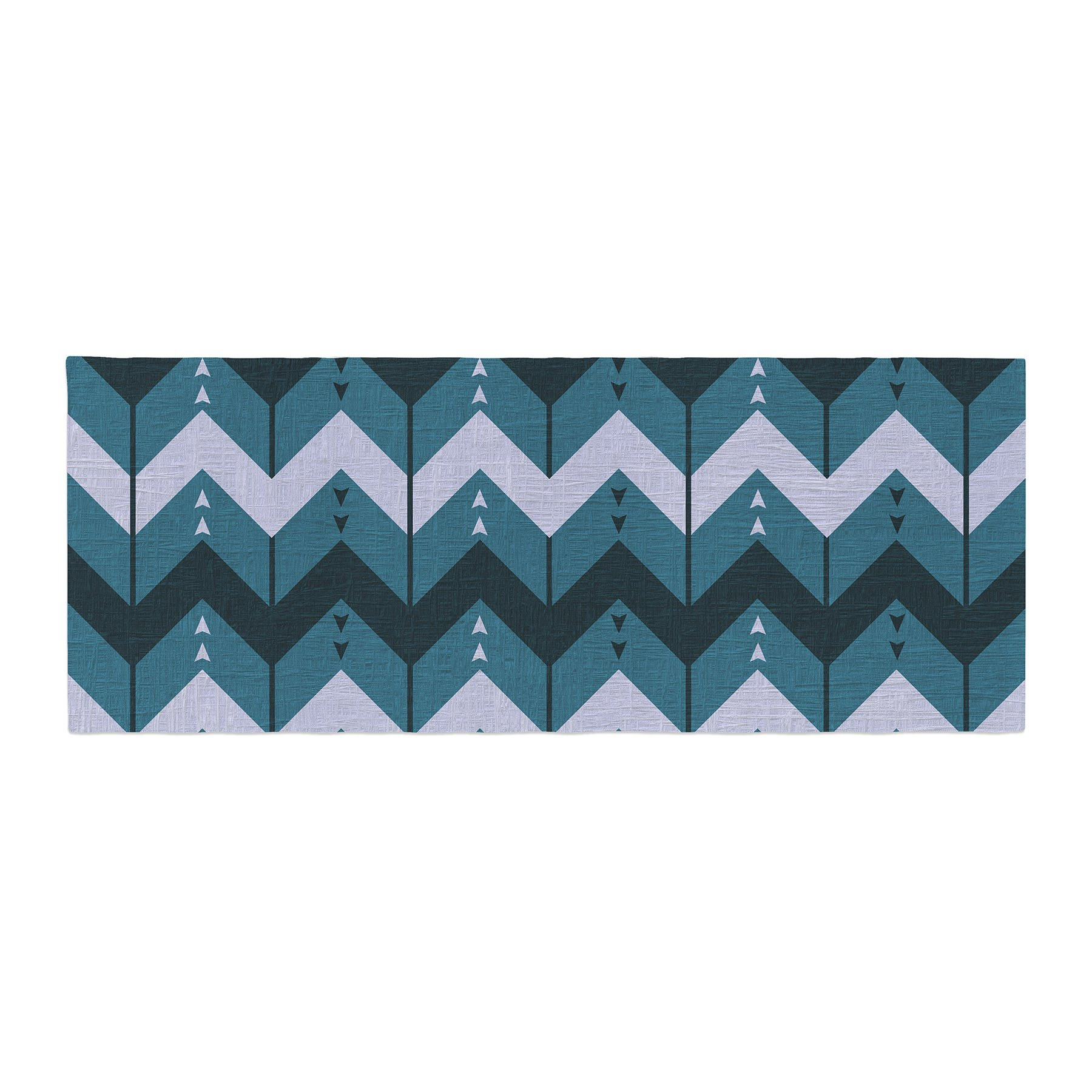 Kess InHouse Nick Atkinson Chevron Dance Blue Bed Runner, 34'' x 86''