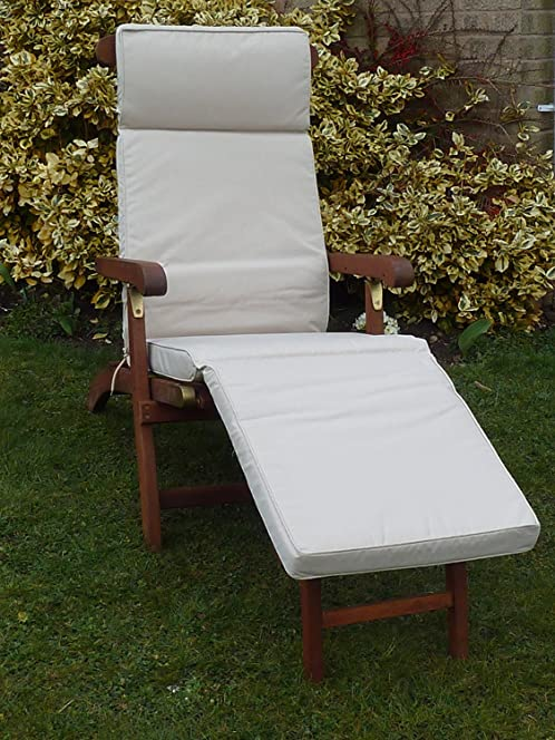 UK Gardens Cream Beige Garden Furniture Steamer Chair Cushion   Removable  Cover   Double Piped