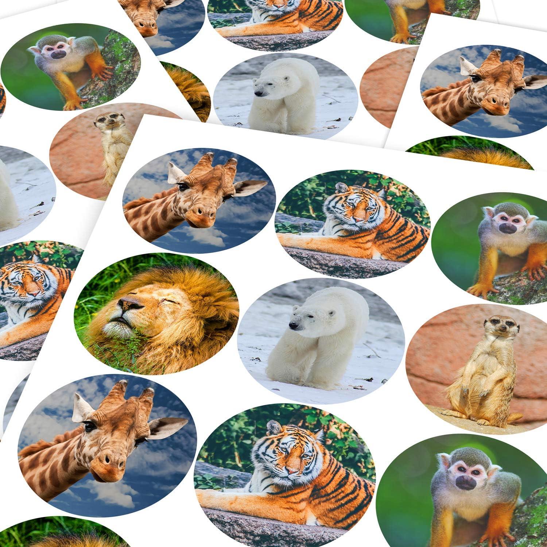 6 Stickers @ 9.5cm Children Parents Teachers Graphic Flavour Majestic Wild Animals Reward Sticker Labels