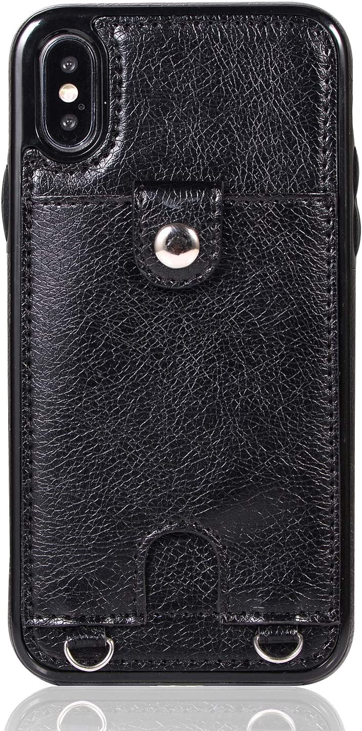 Jaorty PU Leather Wallet Case for iPhone Xs Max Necklace Lanyard Case Cover with Card Holder Adjustable Detachable Anti-Lost Neck Strap for Apple iPhone Xs Max,Black