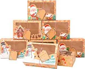 Konsait 12pack Christmas Cookie Gift Box Treat Boxes For Gift Giving, Large Rectangle Christmas Kraft Paper Food Container Bakery Boxes With Clear Window Christmas Gift Tag Ribbons,Christmas Supplies