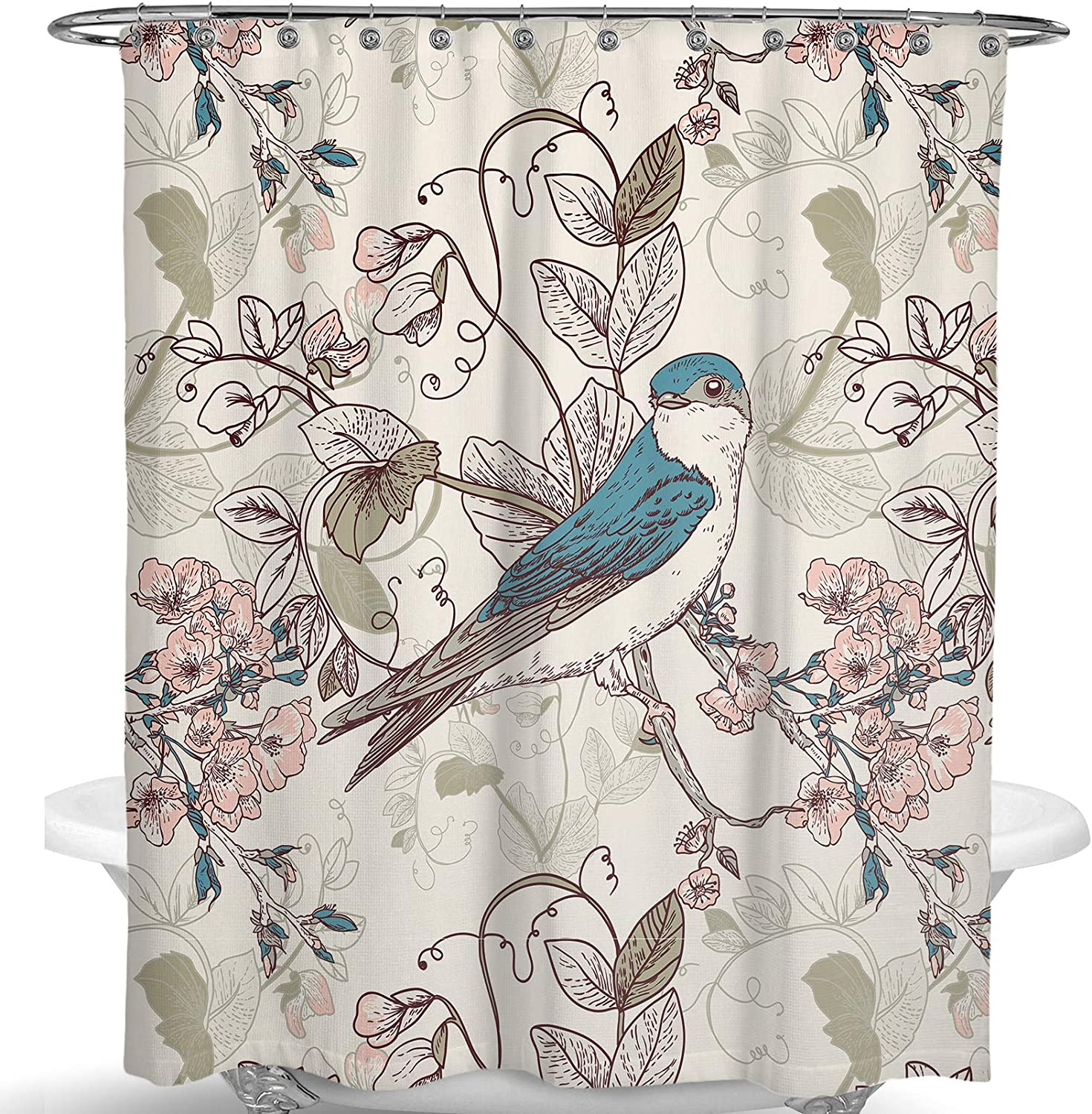 Dimaka Shower Curtain for Girls and Kids,Animal Print Decoration Design Decor Water Proof Resistant Eco Friendly Bathroom Fabric Shower Curtain (Bird