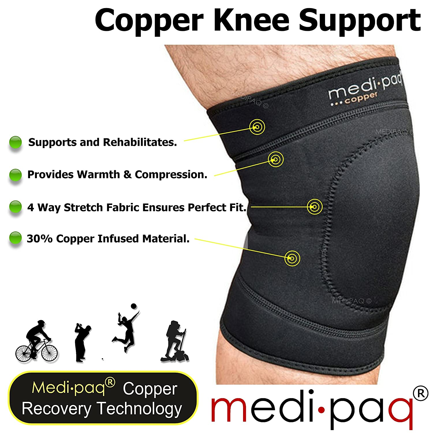 e4c20253a9 Medipaq Copper Infused Knee Compression Support (One Size Fits Most): Amazon .co.uk: Health & Personal Care