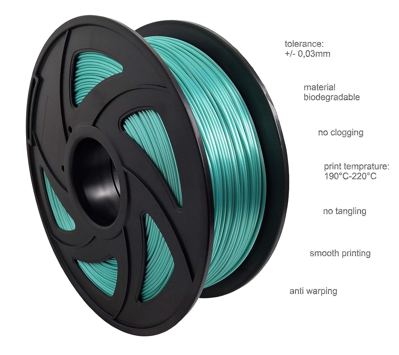 Filament PLA de qualit/é sup/érieure de 1,75 mm de diam/ètre Enroul/é textur/é pour des r/ésultats dimpression parfaits. Accessoires pour imprimante 3D ML 1 Silk Blue. 1 kg