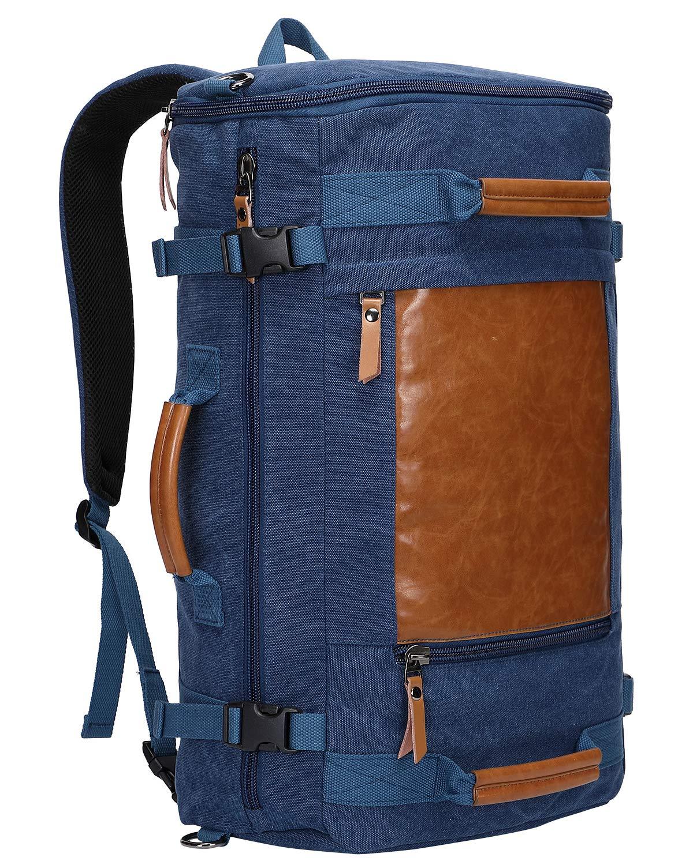 10c7ad837 Witzman Men Vintage Canvas Rucksack Travel Duffel Backpack Retro Hiking Bag(2063  Blue): Amazon.ca: Luggage & Bags