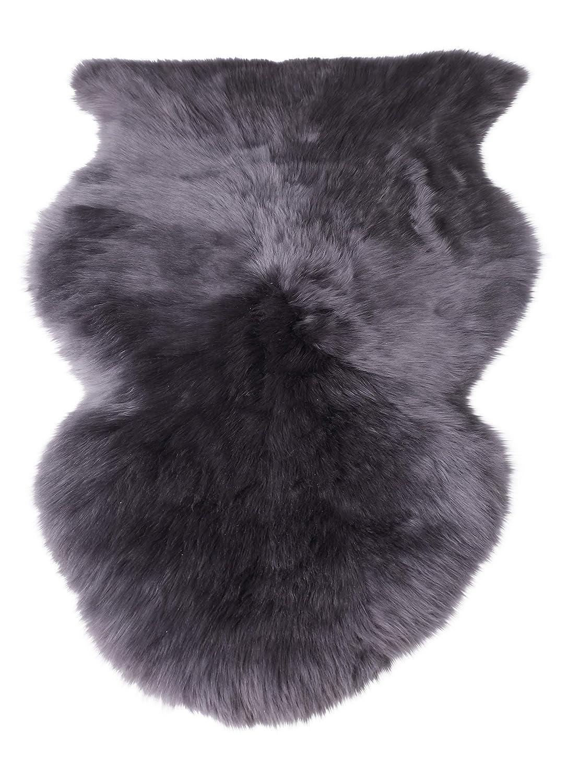Naturasan Öko Schafsfell Lammfell Schaffell ökologisch gegerbt ca 100-110 cm Dunkelgrau