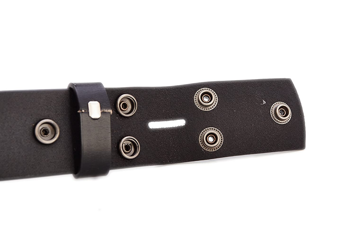 Gurscour Mens Belts Full Grain Leather Belt without Buckle 1.5 Black with Copper Snap