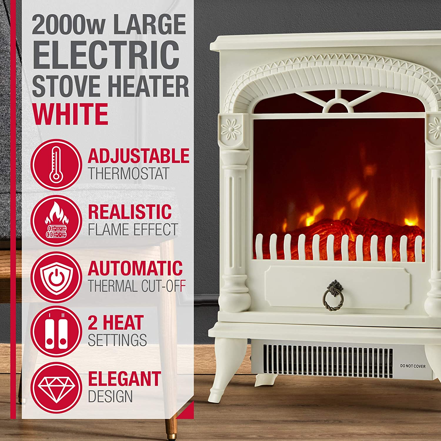 Freestanding NETTA Electric Fireplace Stove Heater 2000W with Fire Flame Effect
