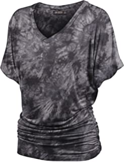 6aa2a364ea7 LL Womens Short Sleeve Heart Shape Tie-Dye Ombre Dolman Top - Made in USA