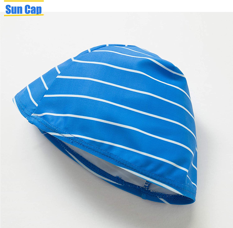Sun Protection Rash Guard Stripe Two Pieces Swimwear with Sun Cap Toddler//Little Boys UPF 50