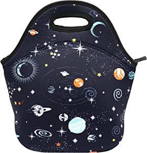 Neoprene Lunch Bag Insulated Lunch Box Tote for Women Men Adult Kids Teens Boys Teenage Girls (Space)