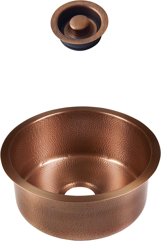 B07BR6W7BD Sinkology SP504-17AC-AMZ-D Ducreux Undermount 17 in. Bar Prep Kit with Disposal Flange Bathroom Sink, 17 x 17 x 8, Antique Copper 81meQxV5eML