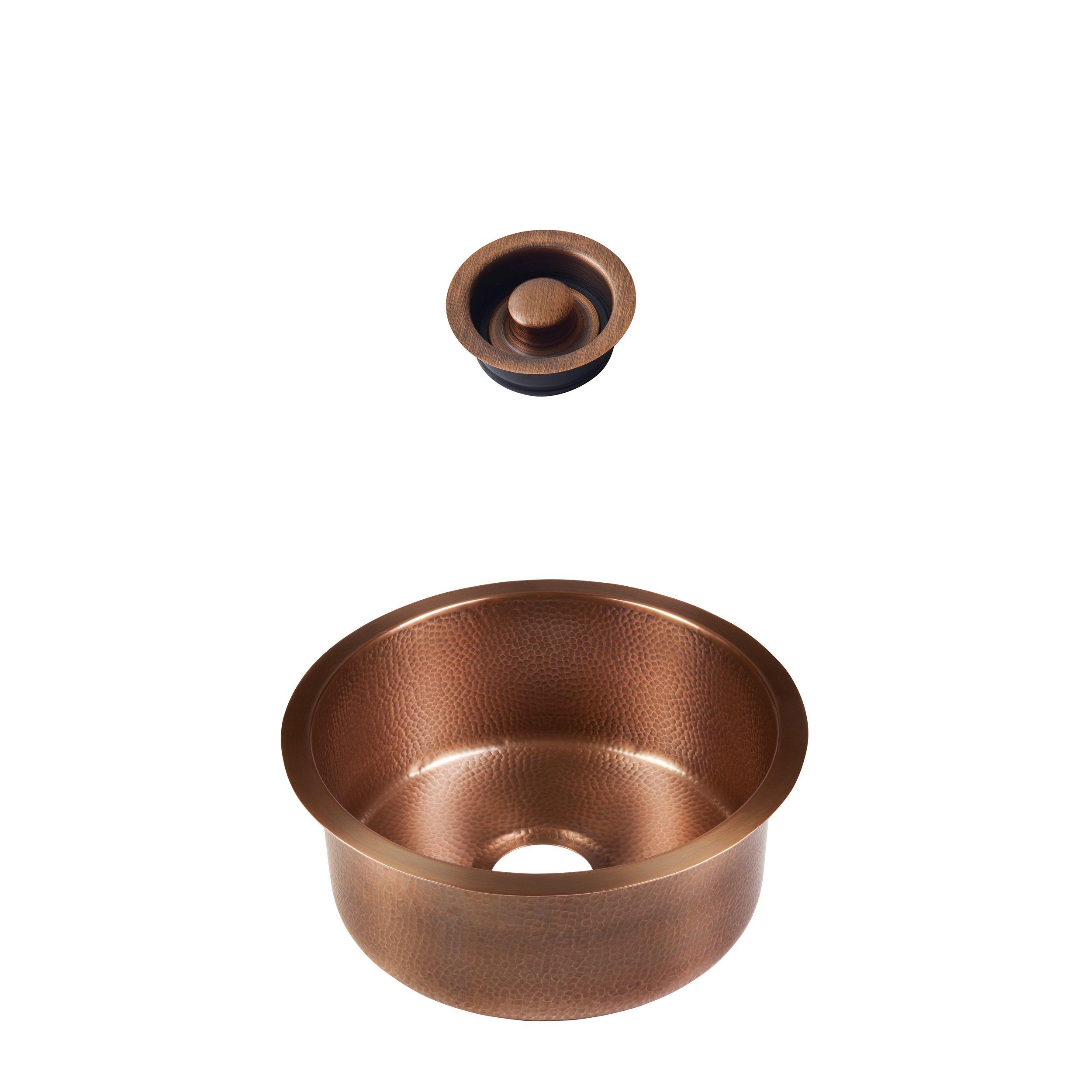 Sinkology SP504-17AC-AMZ-D Ducreux Undermount 17 in. Bar Prep Kit with Disposal Flange Copper Bathroom Sink, 17 x 17 x 8, Antique by Sinkology