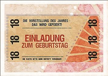 Party Einladungskarte zum 18. Geburtstag im coolen Ticket Look: Die ...