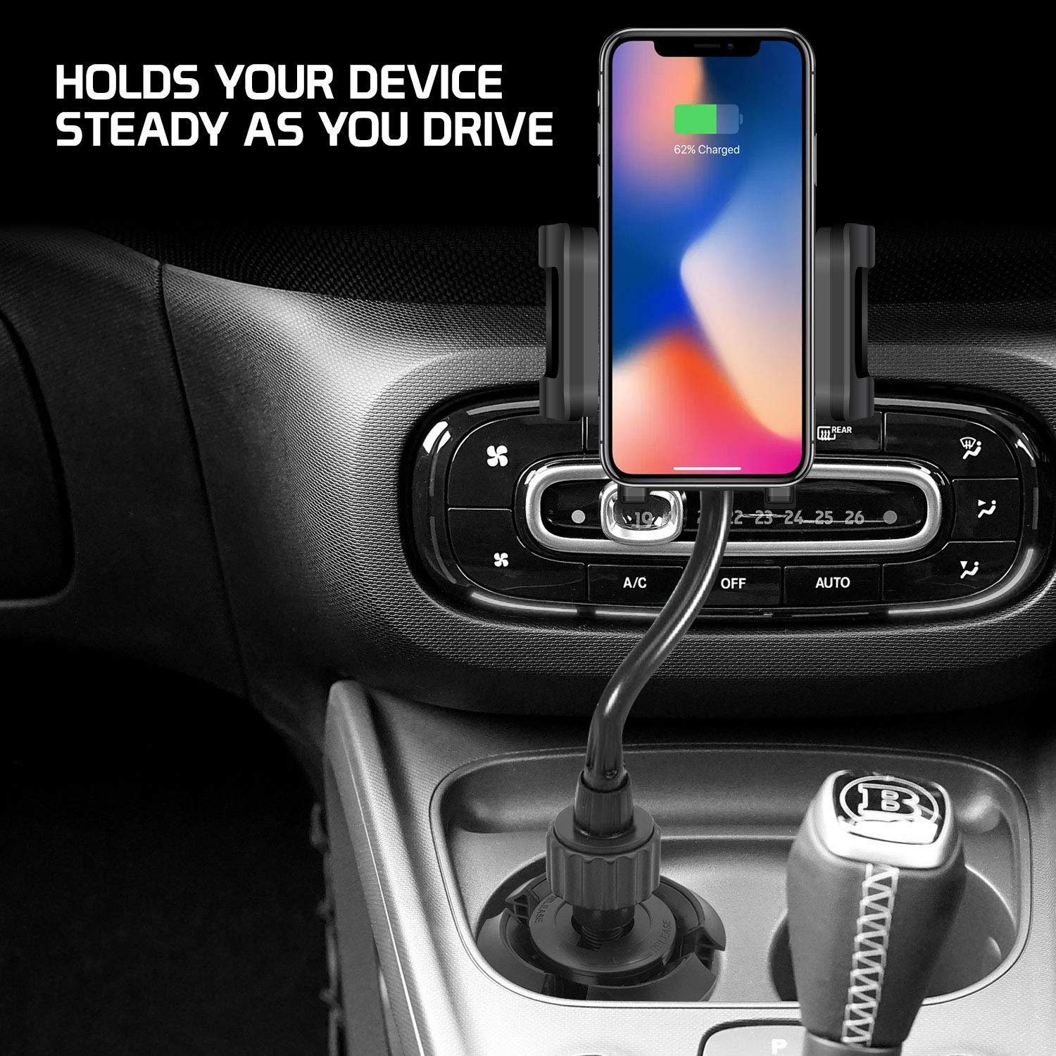 Black Bysionics Wireless Car Charger,Automatic 10w Qi Fast Wireless Charging Cup Phone Holder /& Air Vent Car Phone Mount Compatible with iPhone Samsung /& Qi Enabled
