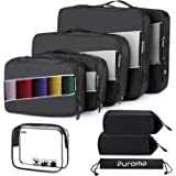 Puroma 4 Sizes Packing Cubes, 11 Pcs Luggage Organizers with 5 Packing Cubes,2 Shoe Bags, TSA Approved Toiletry Bag, Laundry Bag and 2 Luggage Name Tags (Black)