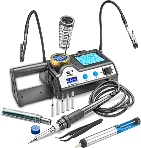 WEP 927-III 60 Watt Soldering Iron Station w 2 Helping Hands, 5 Extra Tips All Accessories – LED Display, Sleep Function, C F, Calibration Func, Spring Iron Holder, Brass Sponge w Flux Wet Sponge